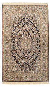 Kashmir Pure Silk Rug 96X156 Authentic Oriental Handknotted Light Brown/Dark Brown (Silk, India)