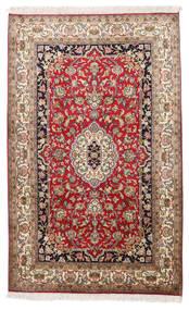 Kashmir 100% Silkki Matto 96X155 Itämainen Käsinsolmittu Vaaleanruskea/Beige (Silkki, Intia)