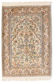 Kashmir Pure Silk Rug 65X95 Authentic  Oriental Handknotted Beige/Light Brown (Silk, India)