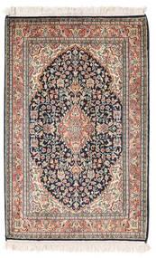 Kashmir 100% Silkki Matto 65X95 Itämainen Käsinsolmittu Tummanharmaa/Ruskea (Silkki, Intia)