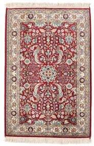 カシミール ピュア シルク 絨毯 65X95 オリエンタル 手織り ベージュ/濃い茶色 (絹, インド)