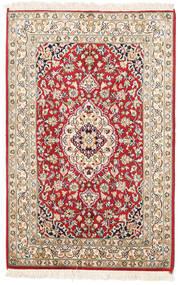 Kashmir 100% Silkki Matto 65X95 Itämainen Käsinsolmittu Vaaleanruskea/Beige (Silkki, Intia)
