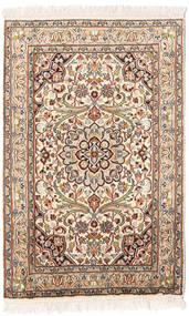 Kashmir 100% Silkki Matto 65X95 Itämainen Käsinsolmittu Beige/Tummanruskea (Silkki, Intia)