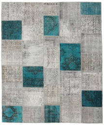 Patchwork Rug 253X303 Authentic  Modern Handknotted Light Grey/Dark Turquoise   Large (Wool, Turkey)