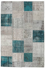 Patchwork Rug 198X301 Authentic  Modern Handknotted Light Grey/Dark Turquoise   (Wool, Turkey)