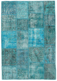 Patchwork Rug 139X202 Authentic  Modern Handknotted Turquoise Blue/Dark Turquoise   (Wool, Turkey)