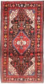 Nahavand Rug 155X297 Authentic  Oriental Handknotted Hallway Runner  Dark Brown/Dark Red (Wool, Persia/Iran)