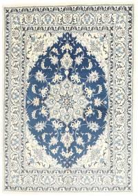 ナイン 絨毯 150X206 オリエンタル 手織り ベージュ/薄い灰色 (ウール, ペルシャ/イラン)