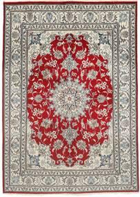 Nain Vloerkleed 150X207 Echt Oosters Handgeknoopt Lichtgrijs/Donkerrood (Wol, Perzië/Iran)