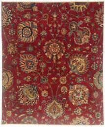 Tabriz Patina Matta 117X142 Äkta Orientalisk Handknuten Mörkröd/Brun (Ull, Persien/Iran)