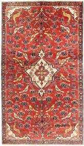 Hamadan Rug 150X258 Authentic  Oriental Handknotted Rust Red/Brown (Wool, Persia/Iran)