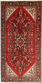 Hamadan Rug 160X323 Authentic  Oriental Handknotted Hallway Runner  Dark Red/Rust Red (Wool, Persia/Iran)