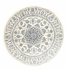 Nain Rug Ø 200 Authentic  Oriental Handknotted Round Beige/Light Grey (Wool, Persia/Iran)
