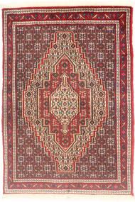 Senneh Tapijt 76X111 Echt Oosters Handgeknoopt Bruin/Donkerrood (Wol, Perzië/Iran)