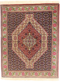 Senneh Rug 77X98 Authentic  Oriental Handknotted Dark Brown/Light Brown (Wool, Persia/Iran)