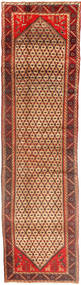 Hamadan Rug 108X405 Authentic  Oriental Handknotted Hallway Runner  Dark Red/Light Brown (Wool, Persia/Iran)