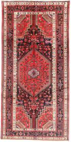 Nahavand Matta 154X310 Äkta Orientalisk Handknuten Hallmatta Mörkröd/Mörkbrun (Ull, Persien/Iran)