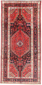 Nahavand Rug 154X310 Authentic  Oriental Handknotted Hallway Runner  Dark Blue/Rust Red (Wool, Persia/Iran)