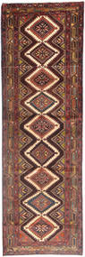 Hamadan Rug 110X343 Authentic  Oriental Handknotted Hallway Runner  Dark Red/Brown (Wool, Persia/Iran)