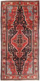 Nahavand Matta 155X305 Äkta Orientalisk Handknuten Hallmatta Mörkröd/Mörkbrun (Ull, Persien/Iran)