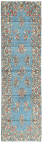 Kerman Rug 89X316 Authentic Oriental Handknotted Hallway Runner Light Blue/Dark Grey (Wool, Persia/Iran)