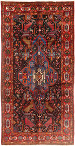 Nahavand Rug 158X310 Authentic  Oriental Handknotted Hallway Runner  Dark Red/Rust Red (Wool, Persia/Iran)