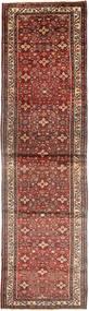 Hosseinabad Tapis 110X427 D'orient Fait Main Tapis Couloir Marron/Rouge Foncé (Laine, Perse/Iran)