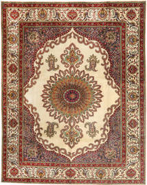 Tabriz Rug 307X390 Authentic  Oriental Handknotted Dark Red/Brown Large (Wool, Persia/Iran)