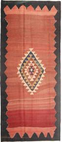 Kelim Teppich  173X392 Echter Orientalischer Handgewebter Läufer Hellrosa/Dunkelgrau (Wolle, Persien/Iran)
