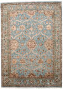 Kashan Indo Laine/Viscos Tapis 290X405 D'orient Fait Main Gris Clair/Marron Clair Grand (Laine/Soie, Inde)