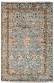 Keshan Indo Wool/Viscos Rug 192X296 Authentic  Oriental Handknotted Light Brown/Light Grey (Wool/Silk, India)