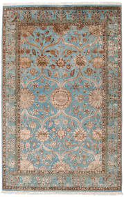 Keshan Indo Wool/Viscos Rug 194X301 Authentic  Oriental Handknotted Light Brown/Light Grey (Wool/Silk, India)