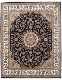 ナイン インド 絨毯 250X305 オリエンタル 手織り 薄茶色/濃いグレー 大きな ( インド)