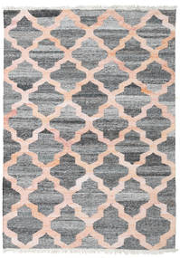 Kathi - Grey/Coral Rug 140X200 Authentic  Modern Handwoven Dark Grey/Light Grey ( India)