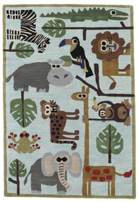 Zoo Handtufted Rug 120X180 Modern Dark Grey/Light Blue/Light Grey (Wool, India)