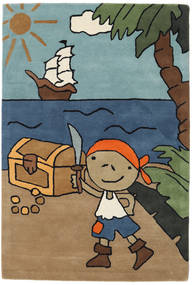 Pirate Handtufted Matto 120X180 Moderni Vaaleanruskea/Sininen (Villa, Intia)
