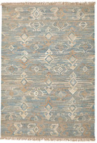 Kalahari Jute Rug 200X300 Authentic  Modern Handwoven Light Grey/Turquoise Blue ( India)