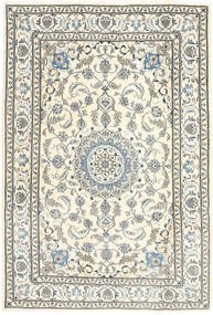 ナイン 絨毯 195X291 オリエンタル 手織り 薄い灰色/ベージュ (ウール, ペルシャ/イラン)
