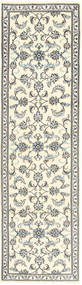 Nain Rug 78X296 Authentic  Oriental Handknotted Hallway Runner  Beige/Light Grey (Wool, Persia/Iran)