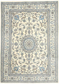 Nain Rug 200X285 Authentic  Oriental Handknotted Light Grey/Beige (Wool, Persia/Iran)