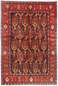 Hamadan Rug 145X220 Authentic  Oriental Handknotted Dark Red/Brown (Wool, Persia/Iran)
