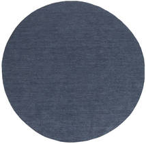 Kilim Loom - Denim Blue Rug Ø 200 Authentic  Modern Handwoven Round Blue (Wool, India)