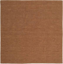 Kelim Loom - Bruin Tapijt 250X250 Echt Modern Handgeweven Vierkant Bruin Groot (Wol, India)