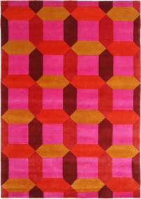 Octagon - Pink/Multi Rug 170X240 Authentic  Modern Handknotted Pink/Orange/Rust Red (Wool, India)