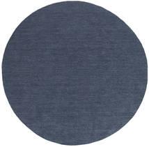 Kelim Loom - Denim Blauw Tapijt Ø 300 Echt Modern Handgeweven Rond Blauw Groot (Wol, India)