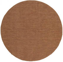 Kilim Loom - Brown Rug Ø 300 Authentic Modern Handwoven Round Brown Large (Wool, India)