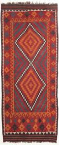 Kelim Tæppe 110X270 Ægte Orientalsk Håndvævet Tæppeløber Mørkerød/Sort (Uld, Persien/Iran)