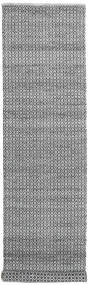 Alva - Grey/Black Rug 80X350 Authentic  Modern Handwoven Hallway Runner  Dark Grey/Light Grey/White/Creme (Wool, India)