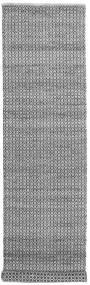 Alva - Grå/Svart Matta 80X350 Äkta Modern Handvävd Hallmatta Mörkgrå/Ljusgrå/Vit/Cremefärgad (Ull, Indien)