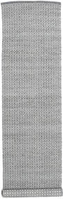 Alva - Dark Grey/White Rug 80X350 Authentic  Modern Handwoven Hallway Runner  Light Grey/Dark Brown (Wool, India)